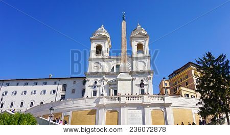 The Exterior Of The Trinita Dei Monti In Rome, Italy Above The Spanish Steps Which Lead Down To Piaz