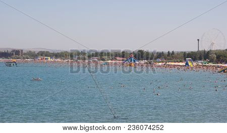 Anapa, Russia - August 5, 2017: View Of The Bay And The Sandy Beach In Summer