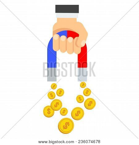 Attraction Of Money. Flat Vector Cartoon Illustration. Objects Isolated On White Background.