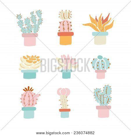 Cactus Sketch Print. Cactus Vector Set Of 9 Cactuses