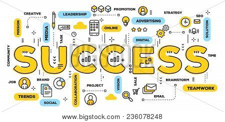 Vector Creative Illustration Of Success Yellow Word Lettering Typography With Line Icons And Tag Clo