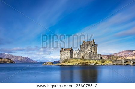 Picturesque Scottish Castle Near The Village Of Dornie, On The Route To Skye.