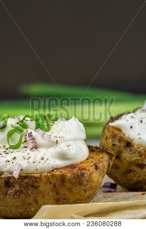 Baked Potatoes With Curd White Cheese, Red Onion And Chive - Closeup