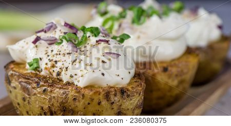 Baked Potatoes With Curd White Cheese, Red Onion And Chive - Closeup - Banner