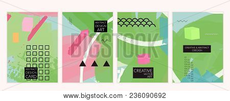Set Of Artistic Minimal Universal Card Templates In Memphis Style 3D