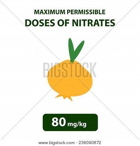 The Maximum Allowable Dose Of Nitrates In Onions. Nitrates In Vegetables And Fruits. Infographics. V