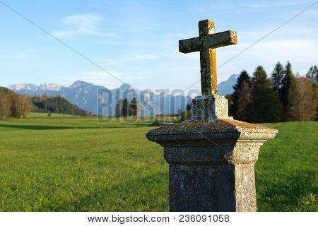 Bavaria Crucifix Religion Summer Swabia Alps Panoramic