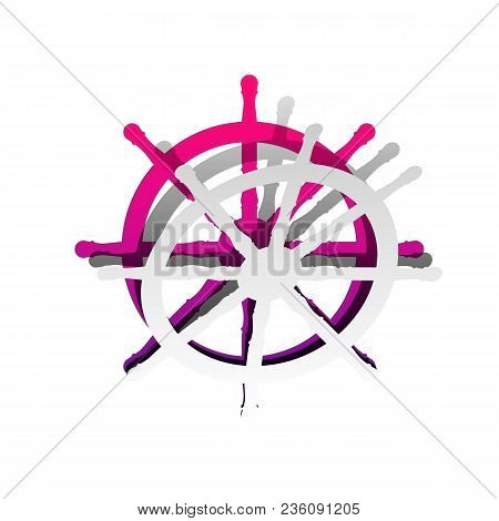 Ship Wheel Sign. Vector. Detachable Paper With Shadow At Underlying Layer With Magenta-violet Backgr