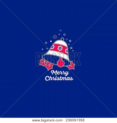 Merry Christmas Bell Icon. Bell And Snowflakes In The Blue Background.