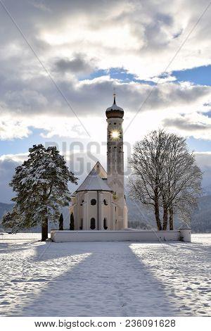 Bavaria Swabia Church Winter Panoramic Sun St. Coloman