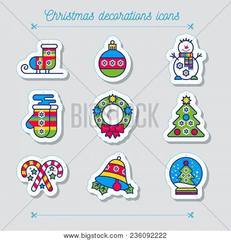 Merry Christmas Colorful Icon Set. Snowman Skates Mittens Wreath Boll Bell Snowball Sweets Tree On A