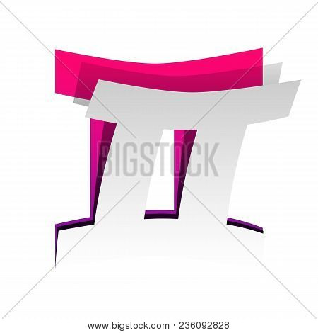 Gemini Sign. Vector. Detachable Paper With Shadow At Underlying Layer With Magenta-violet Background