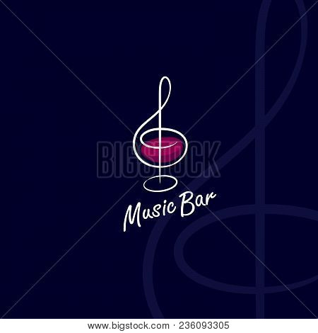 Music Bar Logo. Treble Clef As A Glass With Wine.