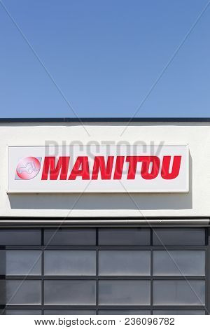 Saint Priest, France - June 18, 2017: Manitou Logo On A Wall. Manitou Is A Firm Which Makes Fork Lif