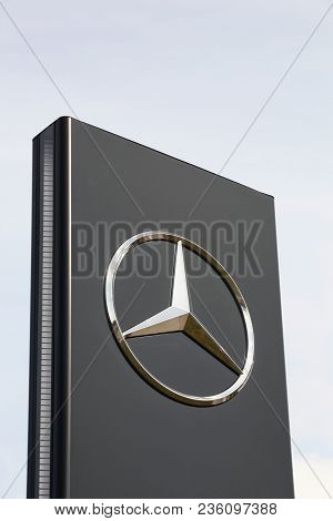 Torsted, Denmark - April 1, 2018: Mercedes Logo On A Panel. Mercedes-benz Is A German Automobile Man