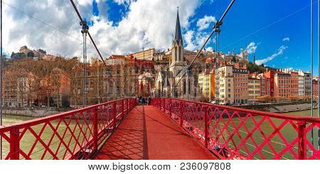 Panoramic View Of Saint Georges Church And Pedestrian Footbridge Across Saone River, Old Town With F