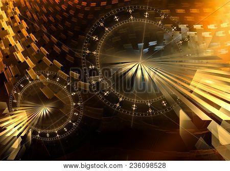 Ancient Metallic Mechanism, Golden Cogwheels And Gears, Colorful Background, Fantasy Clockwork, Abst