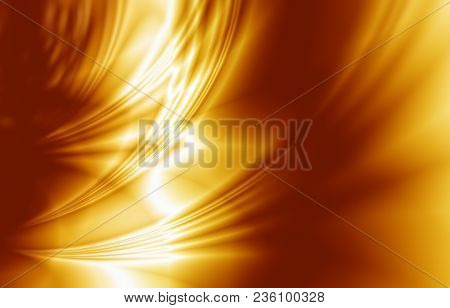 Elegant Luxury Golden Background, Wavy Draped Folds Of Cloth, Smooth Silk Texture With Wrinkles And
