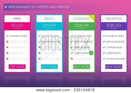 Web Banner Of Tariffs And Prices. Website User Interface For Pricing Table. Ui And Ux Vector Design.