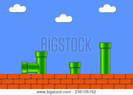 Video Game In Old Style. Retro Display Background For Game With Bricks And Pipe Or Tube. Vector Illu