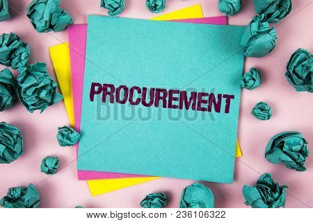 Handwriting Text Procurement. Concept Meaning Obtaining Procuring Something Purchase Of Equipment An