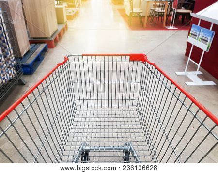 Supermarket Store Abstract Blur Background With Shopping Cart Supermarket Aisle With Empty Shopping
