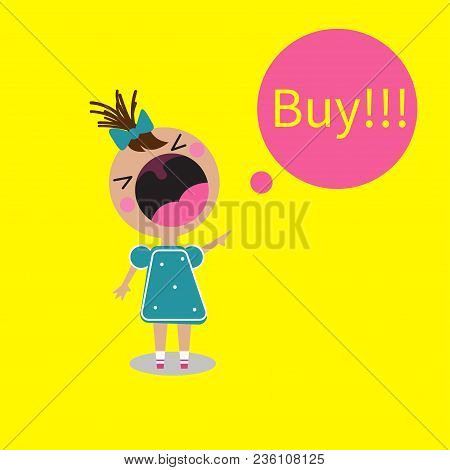 Buy Girl Screaming, Crying Child With Open Mouth. Vector Illustration, Cartoon Character