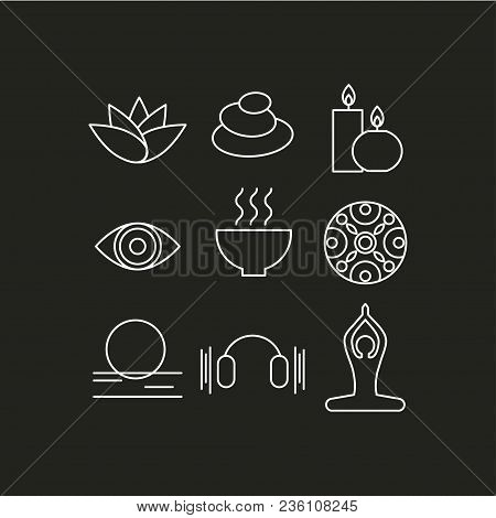 Set Of Icons Relaxation, Meditation, Zen, Rest. Symbols Spa - Massage, Stones, Candles, Yoga Relax A