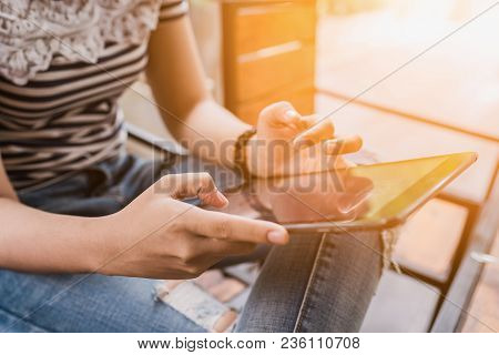 Hands Multitasking Woman Using Tablet. Using Tablet Shopping Payment Online. Using Tablet Shopping P