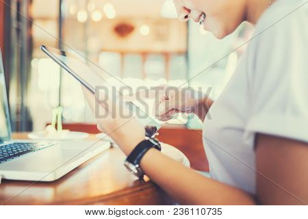 Hands Multitasking Woman Using Tablet. Tablet Users Play Games. Black Color Tablet. Hand Holding Tab