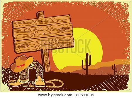 Cowboy's Landscape .grunge Wild Western Background Of Sunset