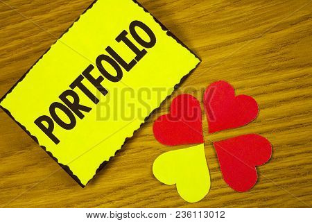 Conceptual Hand Writing Showing Portfolio. Business Photo Text Examples Of Work Used To Apply For A