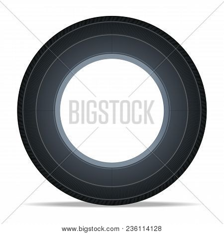 Side View Vehicle Tire Icon. Consumables For Car, Auto Service Concept, Wheel Vehicle Isolated On Wh