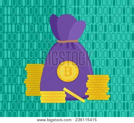 Purple Bag Of Crypto-currencies And Gold Coins On A Bright Green Stock Vector Illustration
