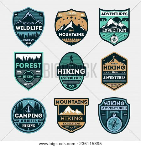 Hiking Expedition Vintage Isolated Label Set. Outdoor Adventure Symbol, Mountain And Forest Explorer