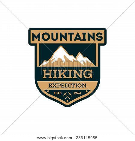 Mountains Hiking Vintage Isolated Badge. Outdoor Explorer Sign, Touristic Expedition Label, Nature C