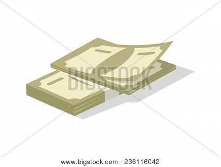 Bundle Of Money Icon. Money Success Symbol, Financial And Banking Sign Isolated On White Background