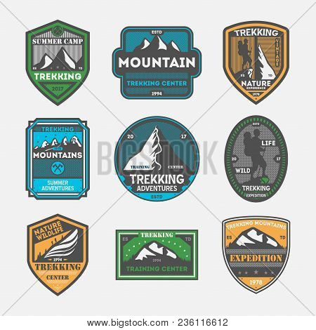 Trekking Expedition Vintage Isolated Label Set. Outdoor Adventure Symbol, Mountain Explorer Sign, To