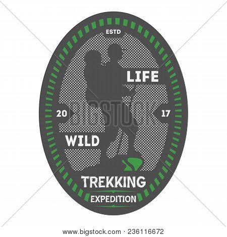 Wildlife Trekking Vintage Isolated Badge. Summer Camp Symbol, Mountain Explorer, Touristic Camping L