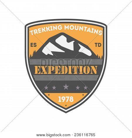 Trekking Expedition Vintage Isolated Badge. Summer Camp Symbol, Mountain Explorer, Touristic Camping