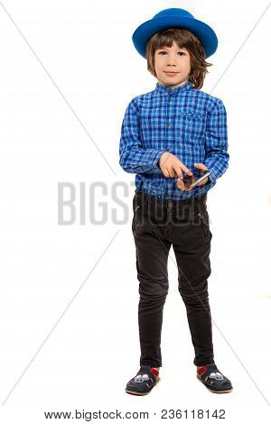 Full Lenght Of Elegant Executive Little Boy With Smart Phone And Hat Isolated On White Background