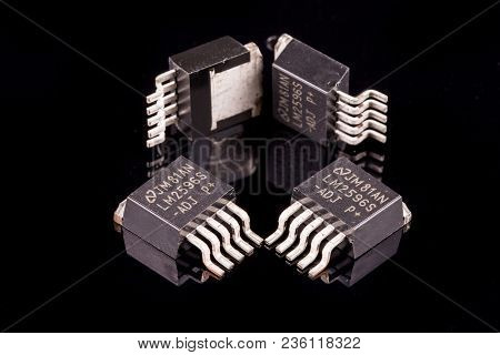 Detail Of Few Microcircuits Against Black Background