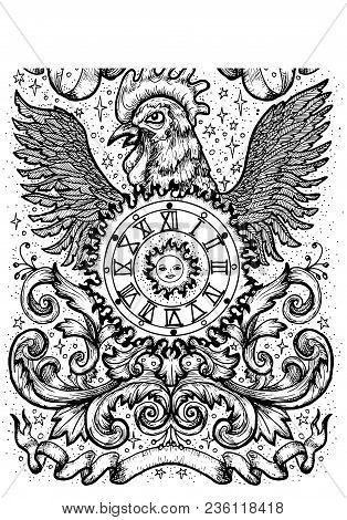 Rooster Symbol With Clock, Sun, Baroque Decorations And Vignette Ribbons. Fantasy Vector Illustratio