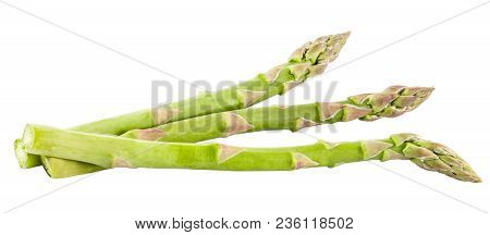 Isolated Vegetables. Fresh Green Asparagus Isolated On White Background With Clipping Path As Packag