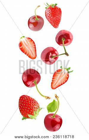 Isolated Falling Fruits.falling Strawberry And Cherries Isolated On White Background With Clipping P