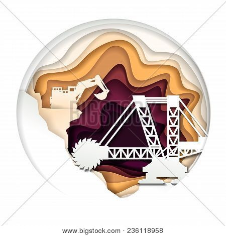 Extractive Machinery And Opencast Mine In Circle. Vector Illustration In Modern Paper Art Style. Min