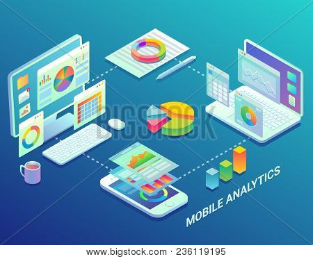 Mobile Web Analytics Infographic Design Template. Vector Flat Isometric Mobile Analytics Process Flo