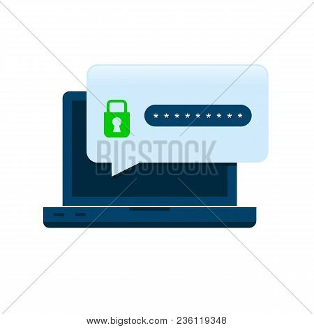 Flat Computer With Security Lock Icon. Internet Security Protection Concept. Laptop With Password Se