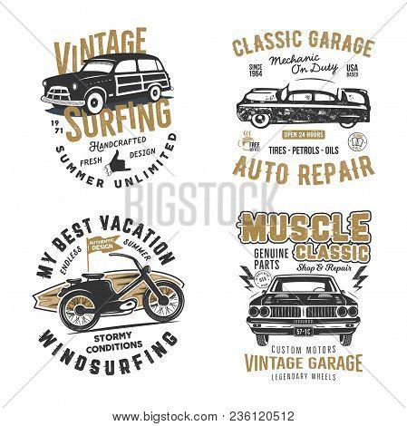 Vintage Hand Drawn Tee Prints Set. Surf Print Design, Old Garage, Car Service, Auto Repair Emblems P