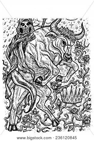 Bull Symbol. Ox With Death Skeleton, Crown And Mystic Signs. Fantasy Vector Illustration For T-shirt